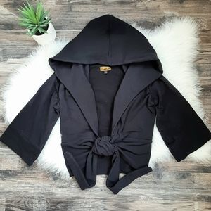Kania hooded cardigan with front tie